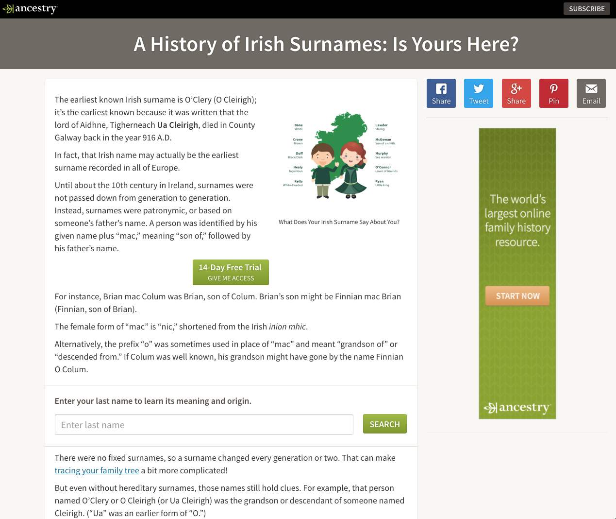 An Article Containing A Graphic Of Common Irish Names Along With Explanation How The Were Created In Earlier Generation To Keep Readers